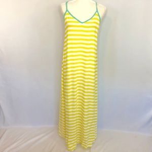 Gillia Hawaii Yellow & White Stripe Long Dress S